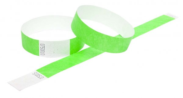 100 Premium Neon Green Tyvek Wristbands 3/4""