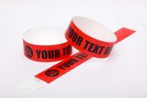 Premium Custom Printed Red Tyvek Wristbands