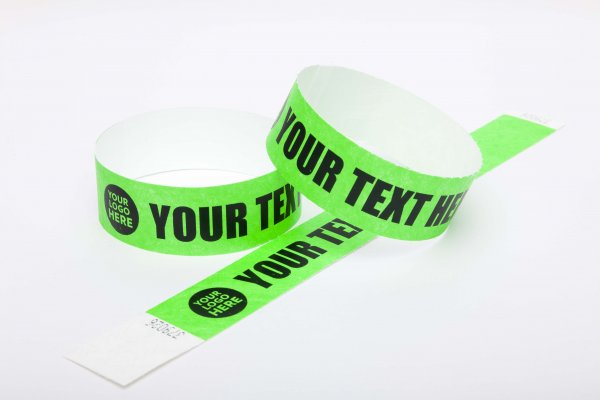 Premium Custom Printed Neon Green Tyvek Wristbands