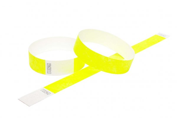100 Premium Neon Yellow Tyvek Wristbands 3/4""