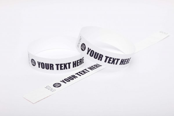 "Premium Custom Printed White Tyvek Wristbands 3/4"""