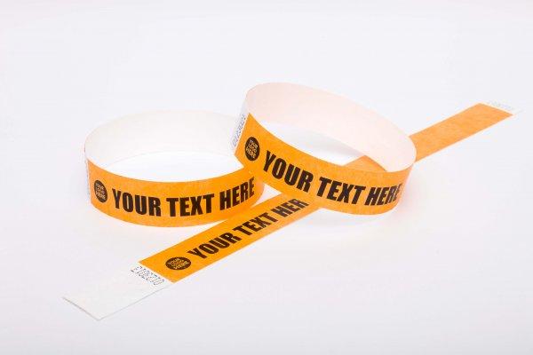 "Premium Custom Printed Neon Orange Tyvek Wristbands 3/4"""