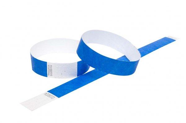 "100 Premium Blue Tyvek Wristbands 3/4"""