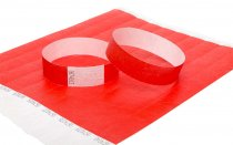 100 Premium Red Tyvek Wristbands 3/4""
