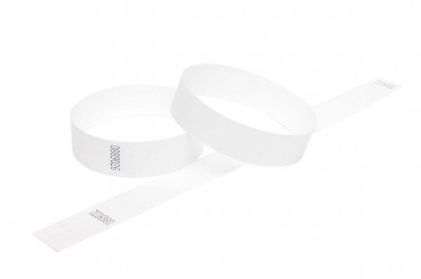 100 Premium White Tyvek Wristbands 3/4""