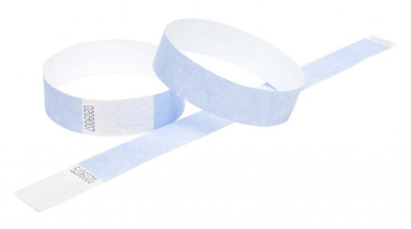 100 Premium Sky Blue Tyvek Wristbands 3/4""