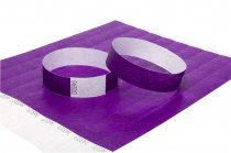 100 Premium Purple Tyvek Wristbands 3/4""
