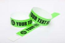 100 Premium Custom Printed Neon Green Tyvek Wristbands