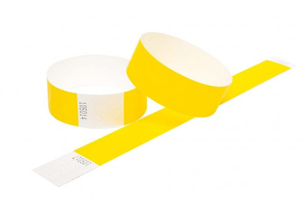 100 Premium Yellow Tyvek Wristbands