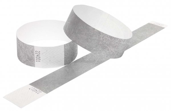 100 Premium Silver Tyvek Wristbands