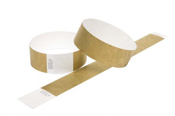 100 Premium Gold Tyvek Wristbands