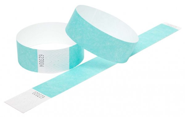 100 Premium Aqua Tyvek Wristbands