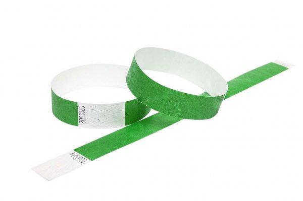 "100 Premium Dark Green Tyvek Wristbands 3/4"""