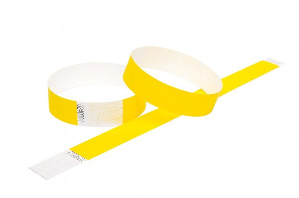 100 Premium Yellow Tyvek Wristbands 3/4""