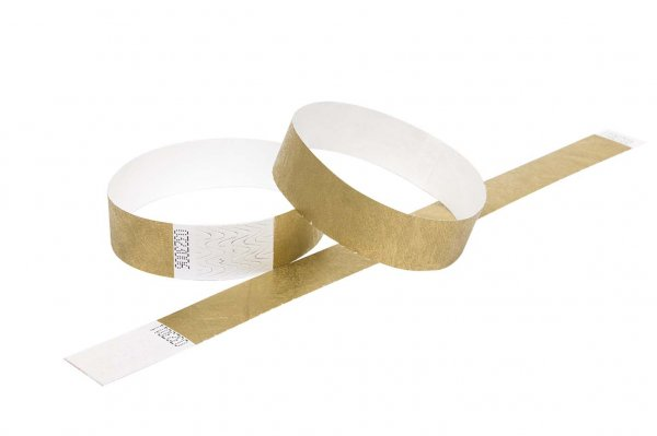100 Premium Gold Tyvek Wristbands 3/4""