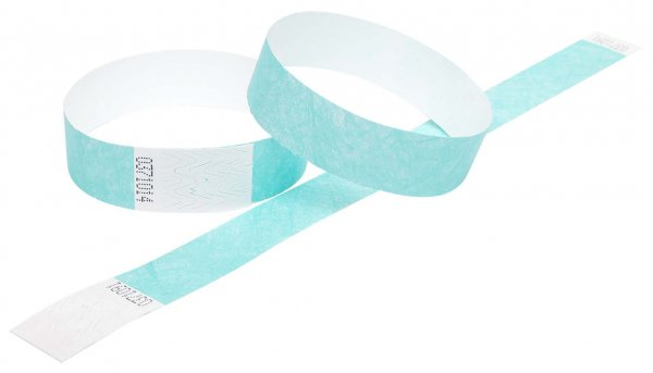 "100 Premium Aqua Tyvek Wristbands 3/4"""