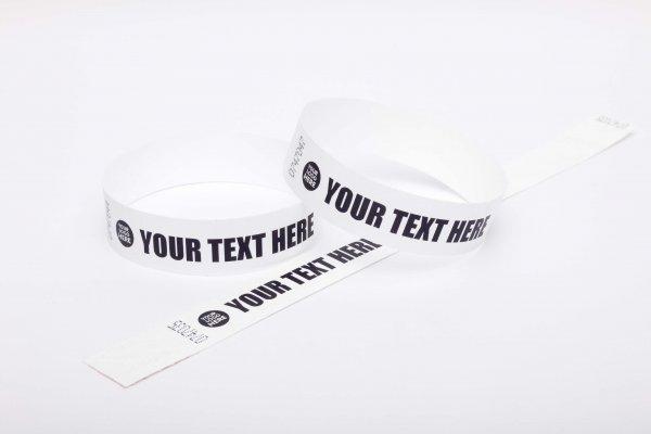 "100 Premium Custom Printed White Tyvek Wristbands 3/4"""