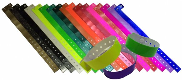 100 L Shaped Vinyl Wristbands with Button Studs