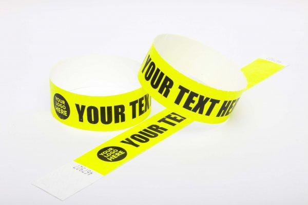 100 Premium Custom Printed Neon Yellow Tyvek Wristbands