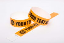 100 Premium Custom Printed Neon Orange Tyvek Wristbands