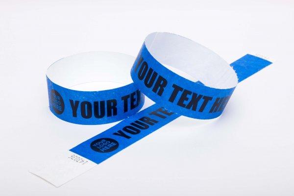 100 Premium Custom Printed Blue Tyvek Wristbands