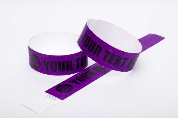 100 Premium Custom Printed Purple Tyvek Wristbands
