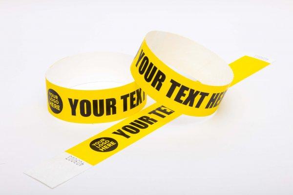 100 Premium Custom Printed Yellow Tyvek Wristbands