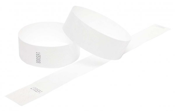 100 Premium White Tyvek Wristbands