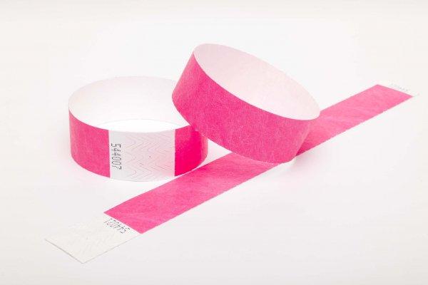 Premium Neon Pink Tyvek Wristbands