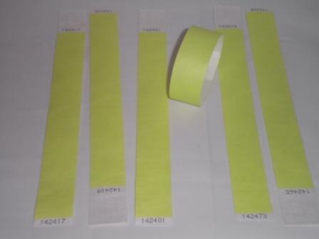 """Premium Neon Yellow Tyvek Wristbands 3/4"""""""