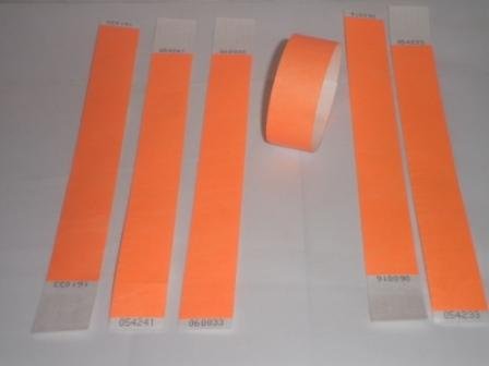 Premium Neon Orange Tyvek Wristbands 3/4""