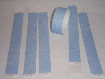 Premium Sky Blue Tyvek Wristbands 3/4""