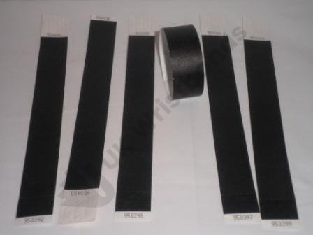 Premium Black Tyvek Wristbands 3/4""