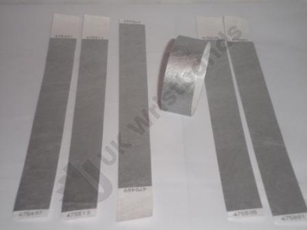 "Premium Silver Tyvek Wristbands 3/4"""