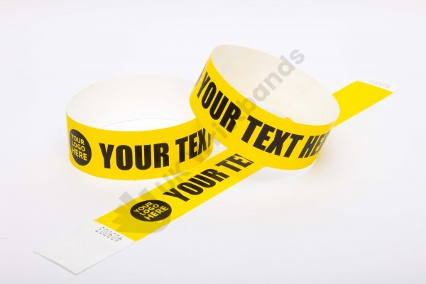 Premium Custom Printed Yellow Tyvek Wristbands