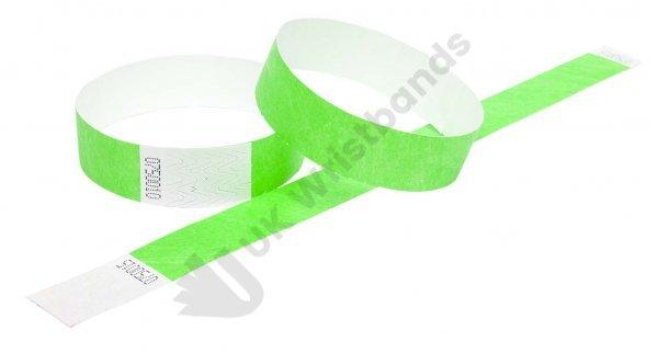 "100 Premium Neon Green Tyvek Wristbands 3/4"""