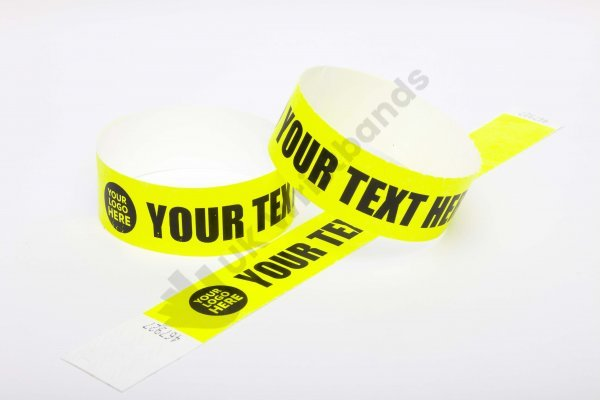Premium Custom Printed Neon Yellow Tyvek Wristbands