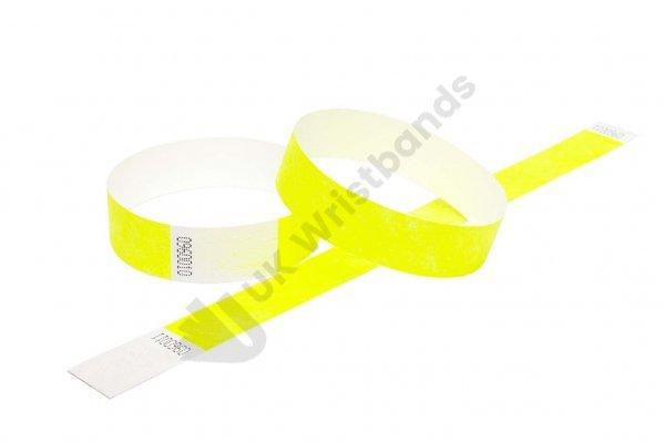 """100 Premium Neon Yellow Tyvek Wristbands 3/4"""""""