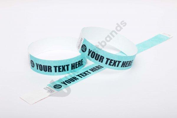 "Premium Custom Printed Aqua Tyvek Wristbands 3/4"""