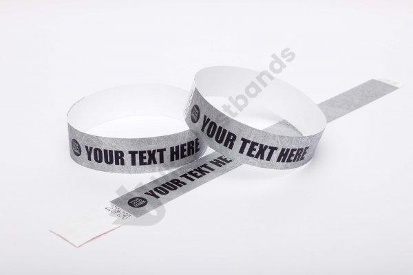"Premium Custom Printed Silver Tyvek Wristbands 3/4"""