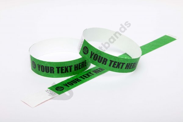 Premium Custom Printed Dark Green Tyvek Wristbands 3/4""