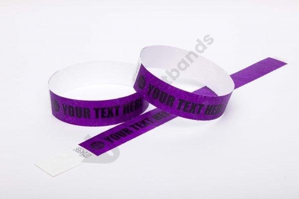 "Premium Custom Printed Purple Tyvek Wristbands 3/4"""