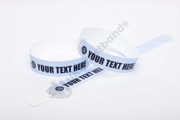 Premium Custom Printed Sky Blue Tyvek Wristbands 3/4""
