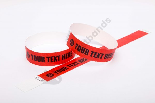 Premium Custom Printed Red Tyvek Wristbands 3/4""