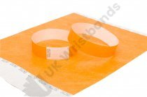100 Premium Neon Orange Tyvek Wristbands 3/4""