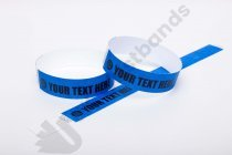 "Premium Custom Printed Blue Tyvek Wristbands 3/4"""