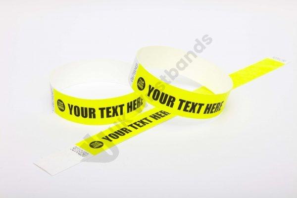 """Premium Custom Printed Neon Yellow Tyvek Wristbands 3/4"""""""