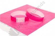 "100 Premium Neon Pink Tyvek Wristbands 3/4"""