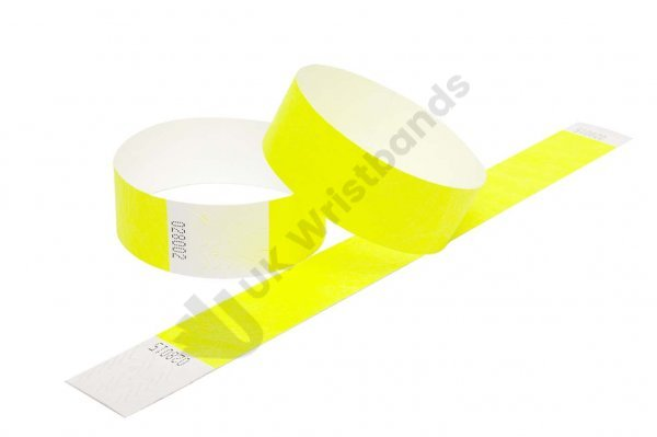 100 Premium Neon Yellow Tyvek Wristbands