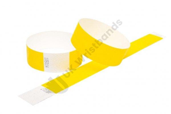 100 Premium Yellow Tyvek Wristbands